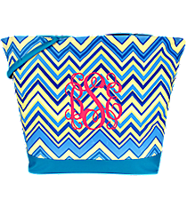 Market Shopping Tote in Blue and Beige Chevron with Blue Trim #ST18-1336-BL