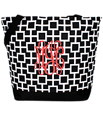 Market Shopping Tote in Black and White Connecting Squares #ST18-1334-1