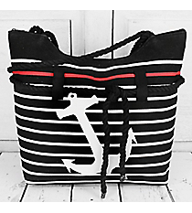 Black and White Striped Anchor Rope Tote #ST18R-706-BK