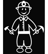 Coal Miner Male Vinyl Car Decal #SF32
