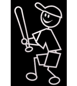 Baseball Male Vinyl Car Decal #SF06