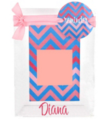 "Blue and Pink Chevron 4"" x  6"" Sticky Note Frame #0850-46"