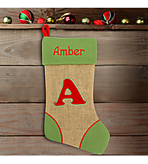 Green with Red 'A' Burlap Stocking #STK-MONO-A