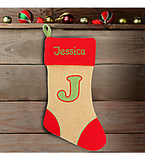 Red with Green 'J' Burlap Stocking #STK-MONO-J