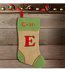 Green with Red 'E' Burlap Stocking #STK-MONO-E