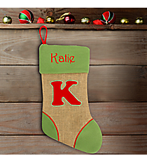 Green with Red 'K' Burlap Stocking #STK-MONO-K
