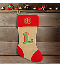 Red with Green 'L' Burlap Stocking #STK-MONO-L