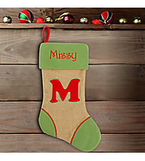 Green with Red 'M' Burlap Stocking #STK-MONO-M