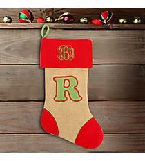 Red with Green 'Red with Green 'R' Burlap Stocking #STK-MONO-R' Burlap Stocking #STK-MONO-L