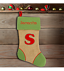 Green with Red 'S' Burlap Stocking #STK-MONO-S