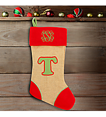 Red with Green 'T' Burlap Stocking #STK-MONO-T