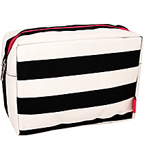 Black and White Stripes Cosmetic Case with Hot Pink Trim  #STR613-H/PINK