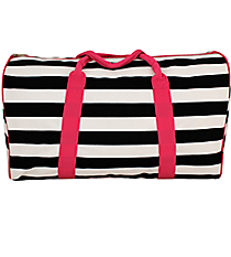 "20"" Black and White Stripes Duffle Bag with Hot Pink Trim #STR641-H/PINK"