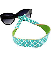 Turquoise and White Geometric Print with Lime Sunglass/Eyeglass Strap #STRP-TQLM