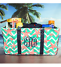 Shorely Chevron with Navy Trim Collapsible Haul-It-All Basket with Mesh Pockets #SUZ603-NAVY