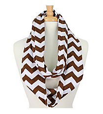 Brown and White Chevron Infinity Scarf #SVSF-BROWN/WHT