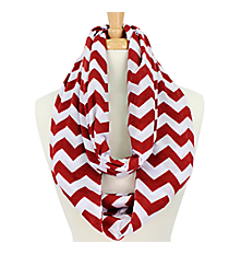 Burgundy and White Chevron Infinity Scarf #SVSF-BUG/WHT