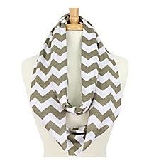 Grey and White Chevron Infinity Scarf #SVSF-GREY/WHT