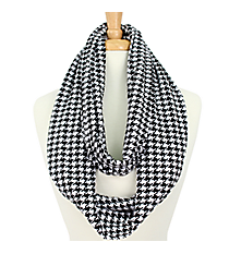 Black and White Houndstooth Infinity Scarf #SVSF-H