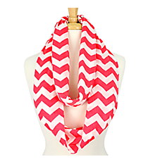 Hot Pink and White Chevron Infinity Scarf #SVSF-HP/WHT