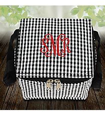 Black Gingham Insulated Mini Square Lunch Tote #SW180934