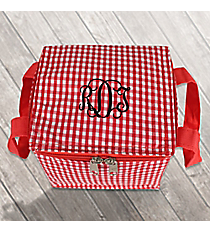 Red Gingham Insulated Mini Square Lunch Tote #SW180935