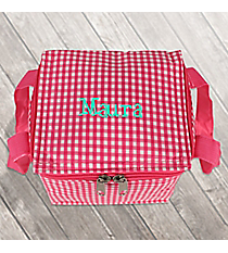 Pink Gingham Insulated Mini Square Lunch Tote #SW180936