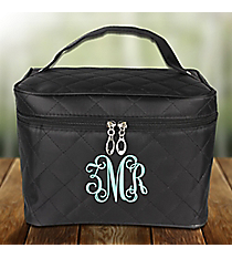 Black Quilted Cosmetic Case #SW181217