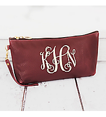 Burgundy Faux Leather Wristlet #SW181287