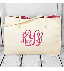 Cream Faux Leather Gingham Lined Tote Bag #SW181311