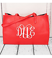 Red Faux Leather Tote Bag #SW181313