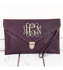 Plum Scalloped Envelope Clutch Bag #SW181509