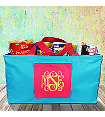Turquoise and Hot Pink Collapsible Haul-It-All Basket #SW181517