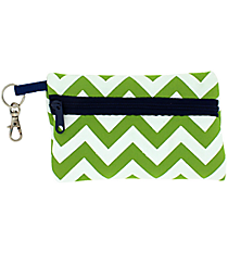 Lime and White Chevron with Navy Trim Small Zip Case #SZIP-LMNV