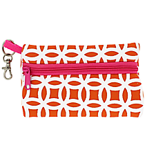 Orange and White Interlocking Circles with Pink Trim Small Zip Case #SZIP-ORPK