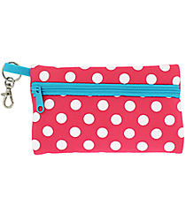 Pink and White Polka Dots with Turquoise Trim Small Zip Case #SZIP-PKTQ