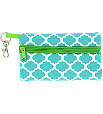 Turquoise and White Geometric Print with Lime Trim Small Zip Case #SZIP-TQLM