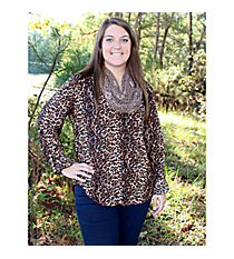 PLUS SIZE Wild About You Blouse #C34-B-T1135P-BLACK/BROWN *Choose Your Size