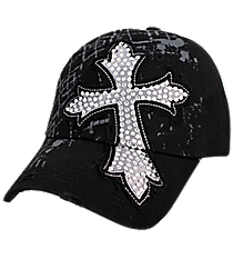 Black Distressed Bling Cross Cap #T12CRO10-BLK
