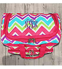 "Pink and Light Blue Chevron 13"" Petite Duffle Bag with Pink Trim #T13-173"