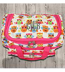 "Owls and Hearts with Pink Trim 13"" Petite Duffle Bag #T13-176"