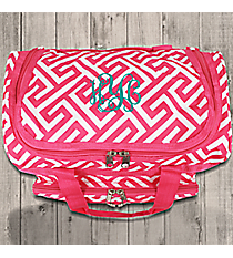 "Fuchsia and White Greek Key Maze 13"" Petite Duffle Bag #T13-185-F/W"