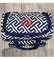 "Navy and White Greek Key Maze 13"" Petite Duffle Bag #T13-185-N/W"