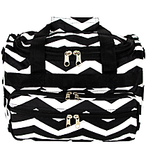 "Black and White Chevron 13"" Petite Duffle Bag #T13-165-B/W"