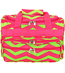 "Fuchsia and Green Chevron 13"" Petite Duffle Bag #T13-165-F/G"
