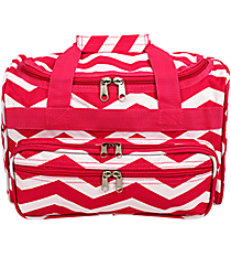 "Fuchsia and White Chevron 13"" Petite Duffle Bag #T13-165-F/W"