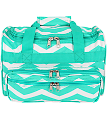 "Light Blue and White Chevron 13"" Petite Duffle Bag #T13-165-LT/W"