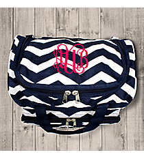 "Navy and White Chevron 13"" Petite Duffle Bag #T13-165-N/W"