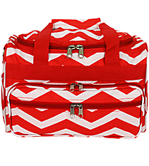 "Red and White Chevron 13"" Petite Duffle Bag #T13-165-R/W"