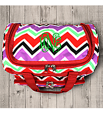 "Red and Purple Chevron 13"" Petite Duffle Bag with Red Trim #T13-170"